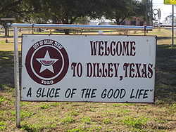 Dilley, Texas Welcome Sign